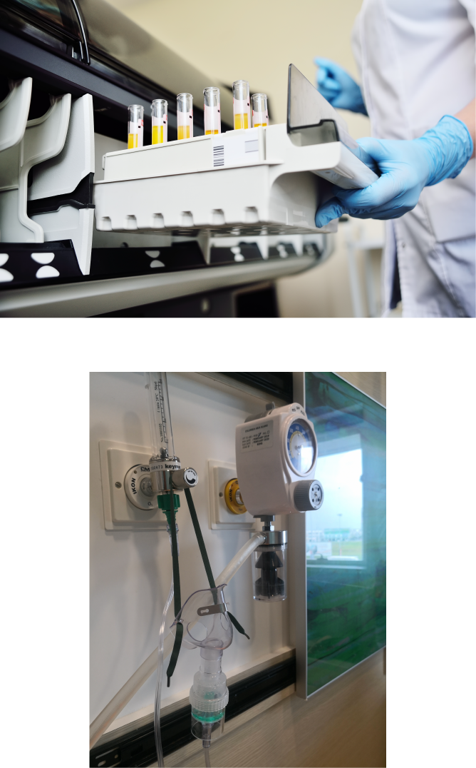 Medical Diagnostics with nurse and an image of a mask, breathing tube and medical equipment
